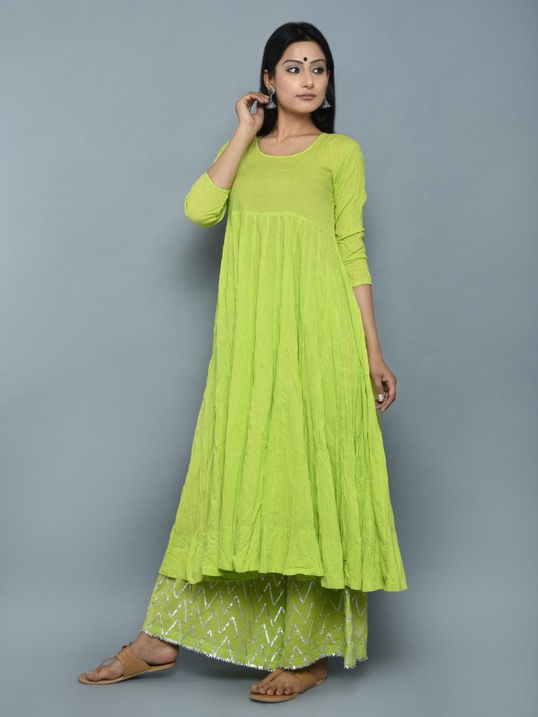Lime Green Cotton Crushed Kurta Hmm Nice