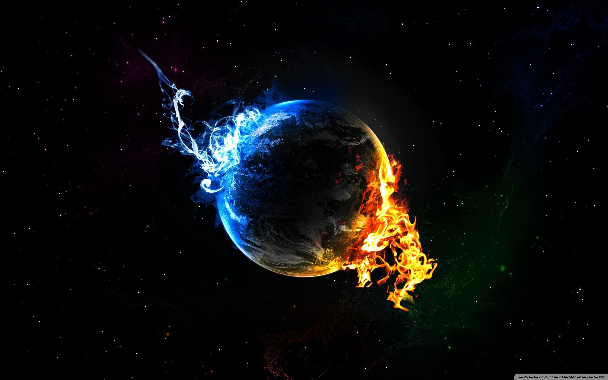 Fire and ice fractal abstract wallpaper hd wallpapers - Fire Fist Vs Water Fist Hd Desktop Wallpaper High Definition