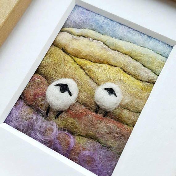 Original felted wool art by Tilly Tea Dance https://www.etsy.com/uk/listing/539961947/sheep-on-a-hillside-in-autumn-original
