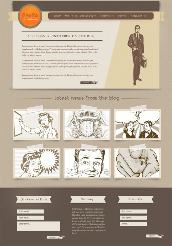 how to create a vintage photoshop website layout | web/interactive, Powerpoint templates