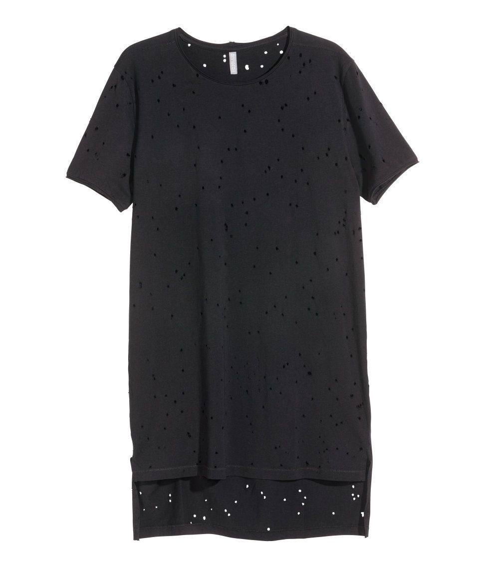 Long T-shirt in cotton jersey with a hole pattern. Raw-edge hems at  neckline and cuffs 1d1adca495e