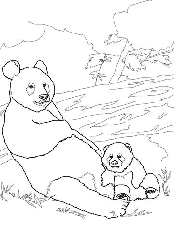 Panda Mother With Baby Panda Coloring Page Panda Coloring Pages