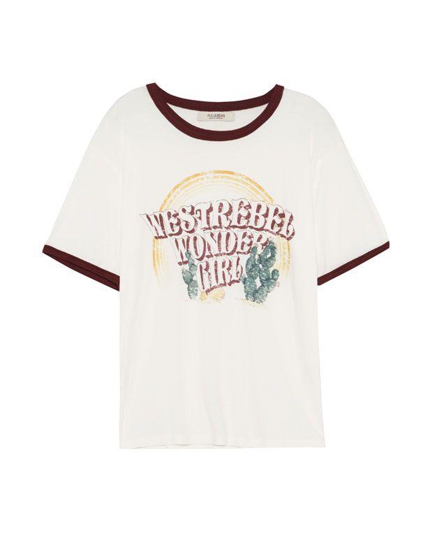 Printed T Shirt T Shirts Clothing Woman Pull Bear Hungary Clothes For Women Print T Shirt Shirt Outfit