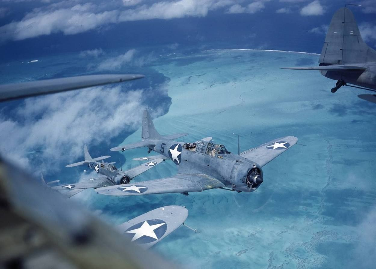 Douglas SBD Dauntless dive bombers in formation over the Pacific in Midway, 1943. Photo by Frank Scherschel (1907-1981), an award-winning staff photographer for LIFE well into the 1950s.