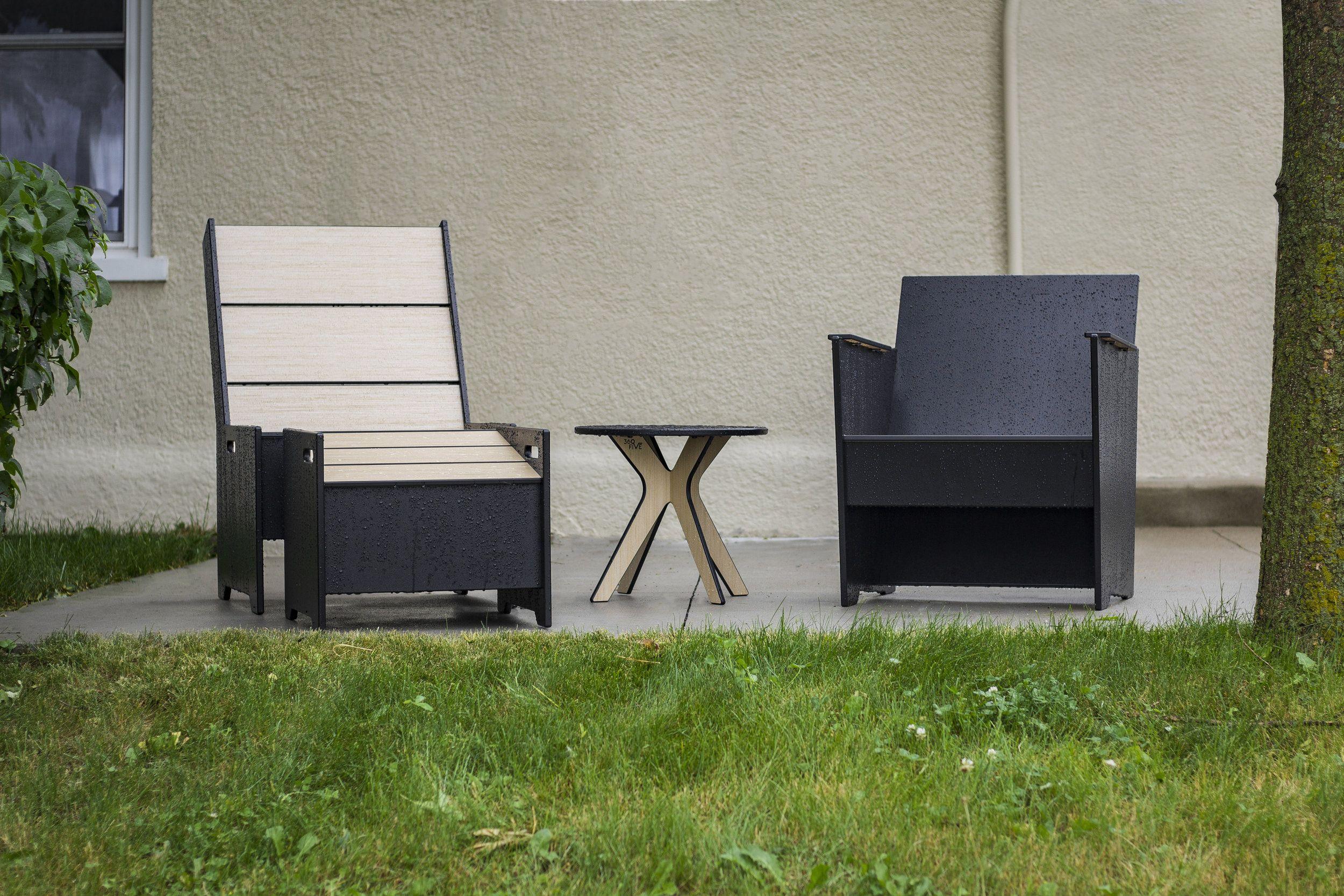 patio set featuring moniker lounge chair brio lounge chair
