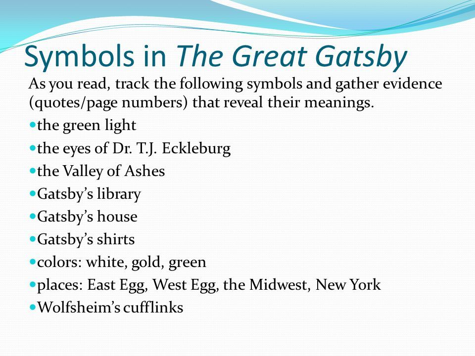 The Great Gatsby Color Symbolism Quotes - Bing | Lesson