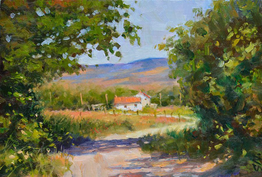 french farm house landscape oil