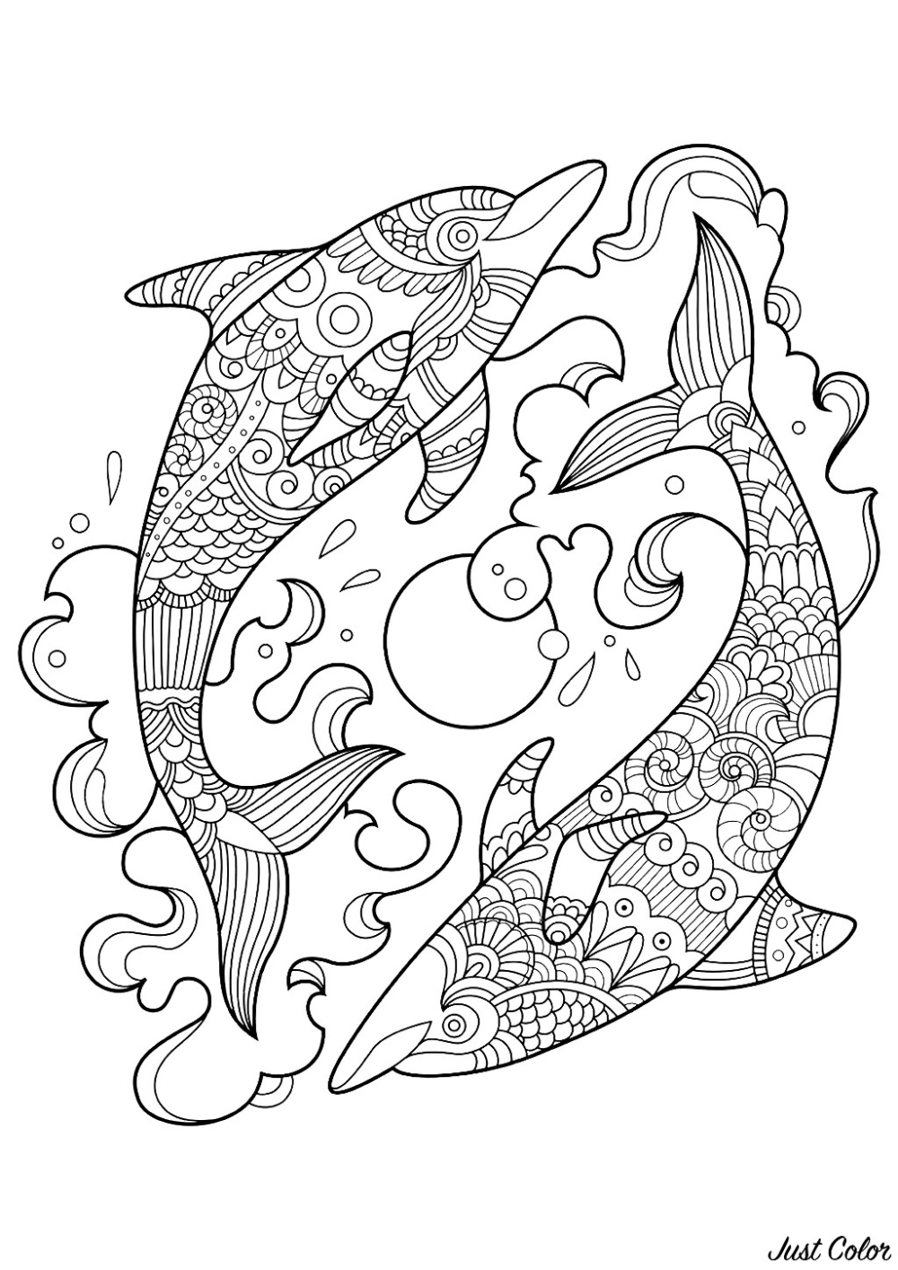 Two Dolphins In The Ocean Dolphins Coloring Pages For Adults Just Color Dolphin Coloring Pages Animal Coloring Pages Fish Coloring Page
