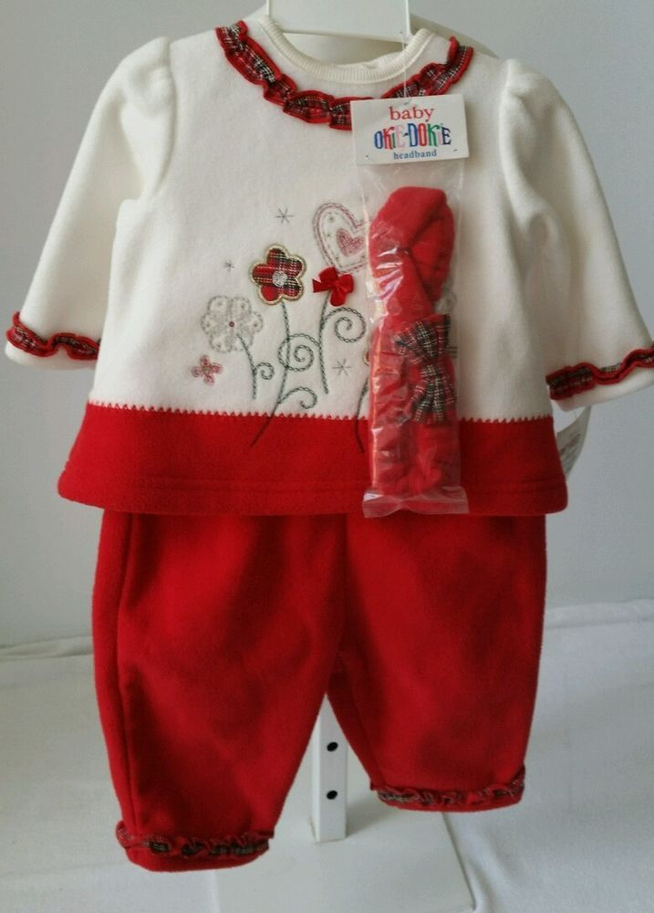 okie dokie 3pc christmas outfit toddler girls 3 6 months headband m okiedokie