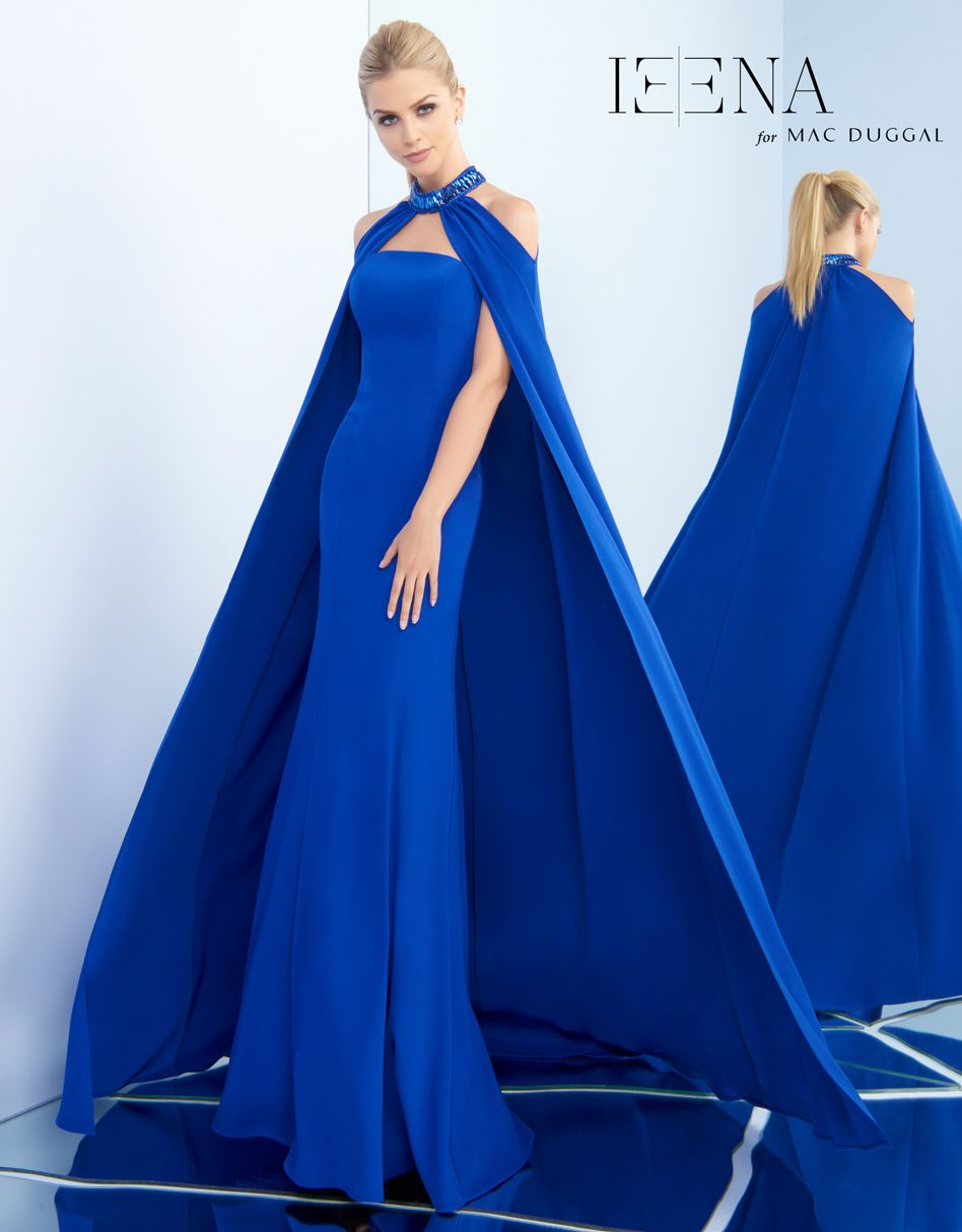 f3c91a9308 Strapless stretch crepe gown accented with removable stretch crepe cape.  The cape