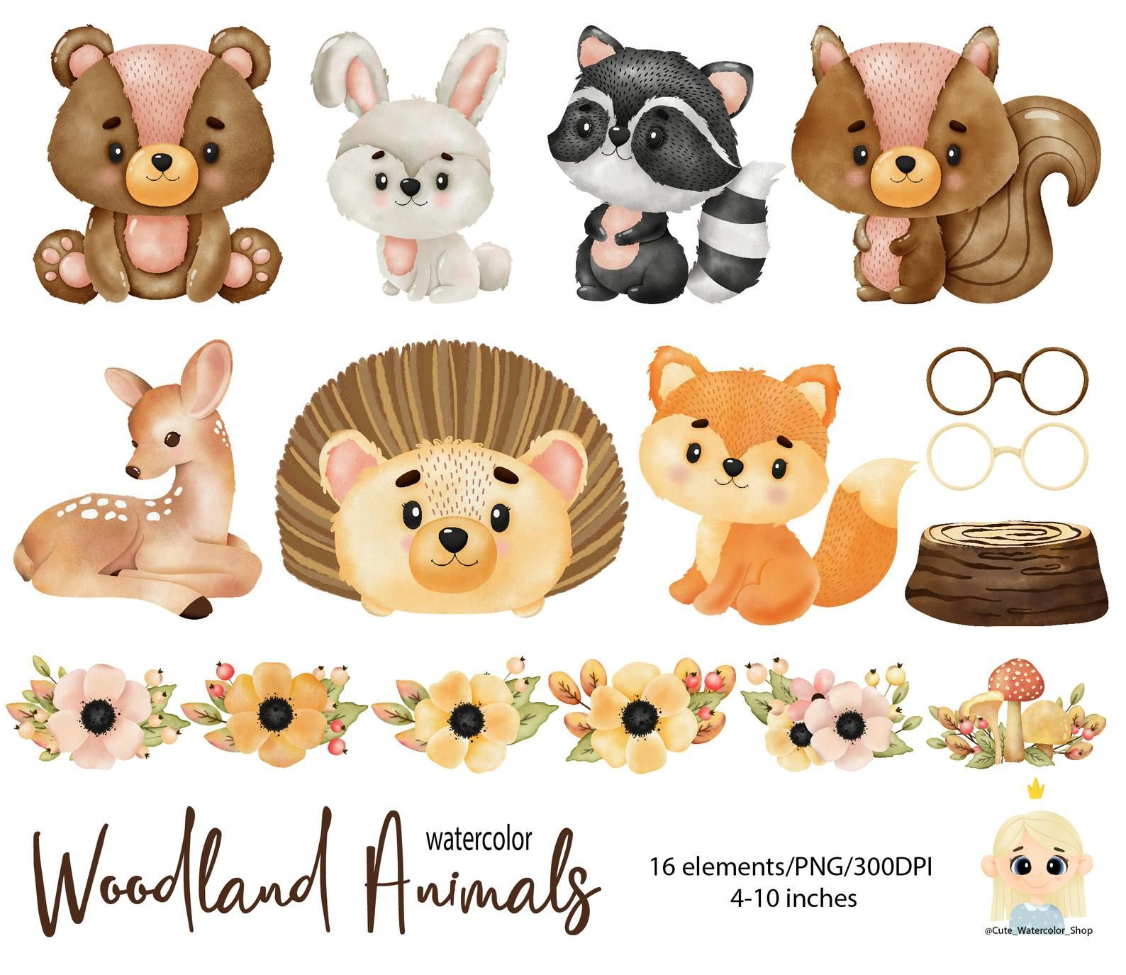 Forest Animal Watercolor Digital Clipart Woodland Creatures Etsy In 2021 Watercolor Animals Animal Clipart Woodland Animals