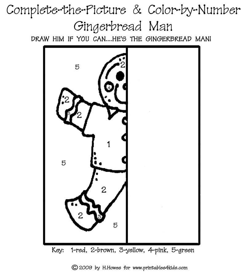 Complete The Picture And Color By Number Gingerbread Man DonT