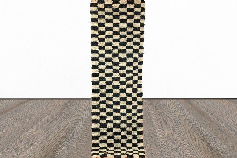 Moroccan Checkered Runner Rug Berber Checker Runners Etsy In 2020 Rug Runner Custom Rugs Berber Carpet