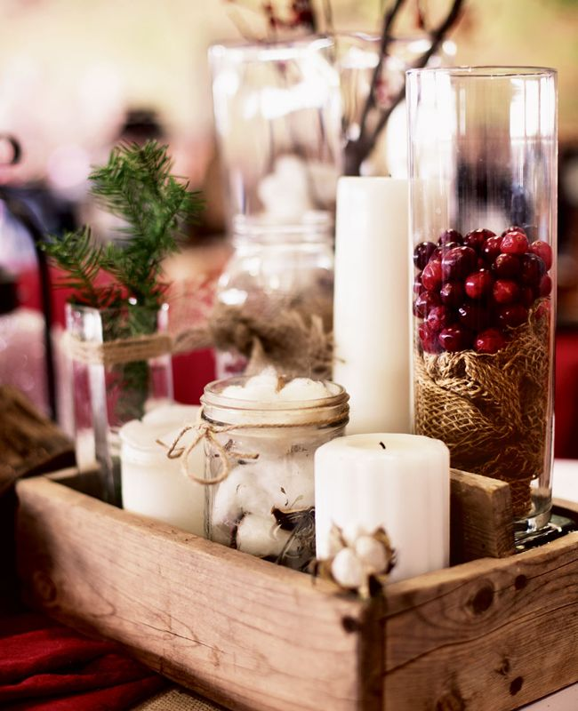 10 Pretty Centerpieces Without A Flower In Sight Winter Centerpieces Christmas Centerpieces Rustic Winter Wedding