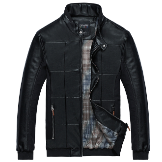 Men's Large Checkered PU Leather Jacket