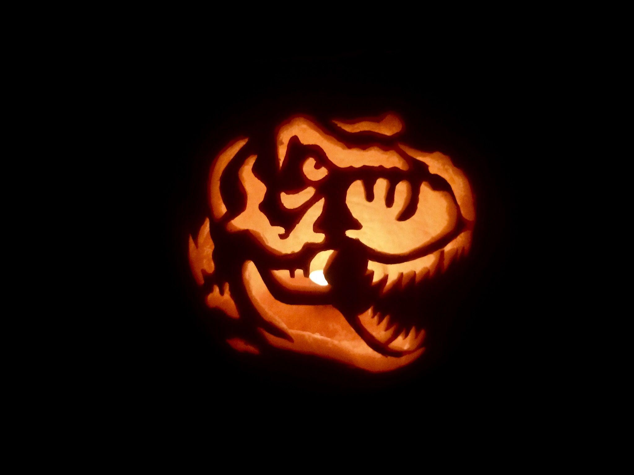 Jurassic Park T Rex pumpkin carving kids in 2018