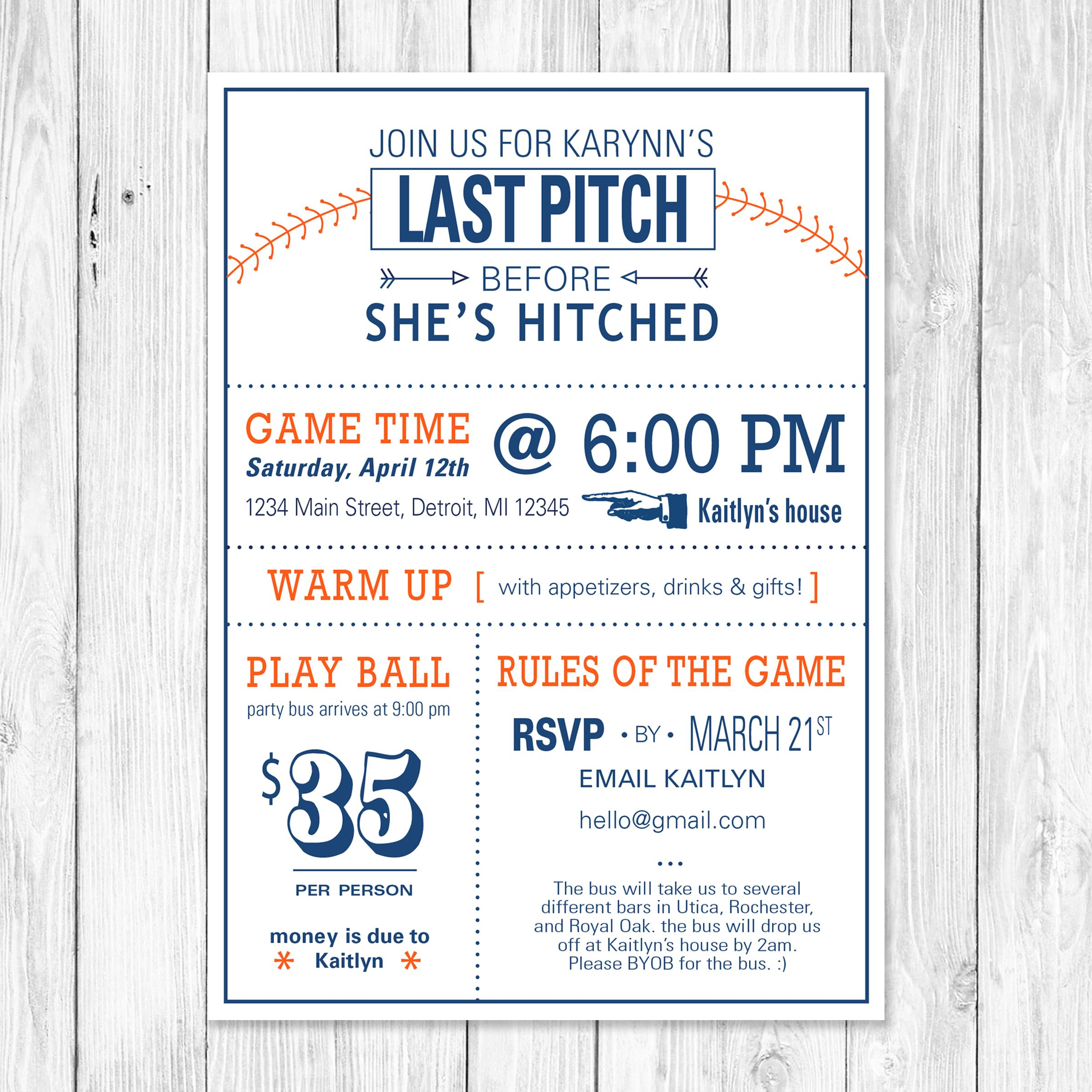 The Last Pitch Baseball Themed Bachelorette Party Invitation