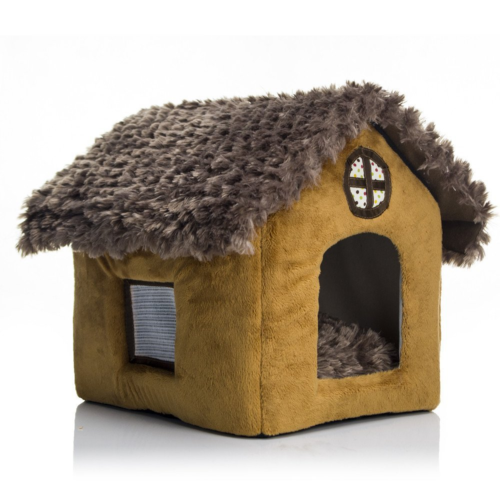 dog cat house cottage soft thatch removable roof fold large space