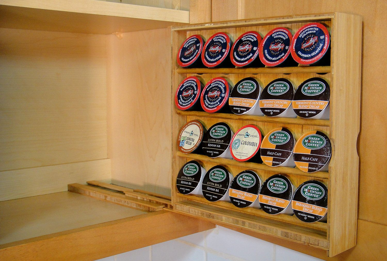 non tacky keurig K Cup Storage Caddy for right hand opening cabinets