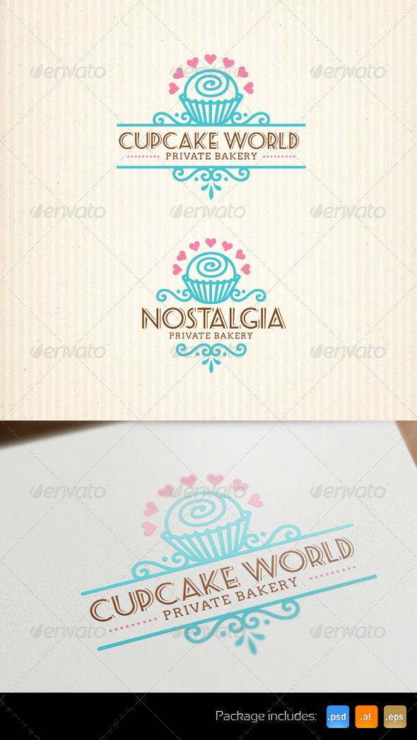 Cupcake Bakery Stylish Logo Template Art And Design Pinterest