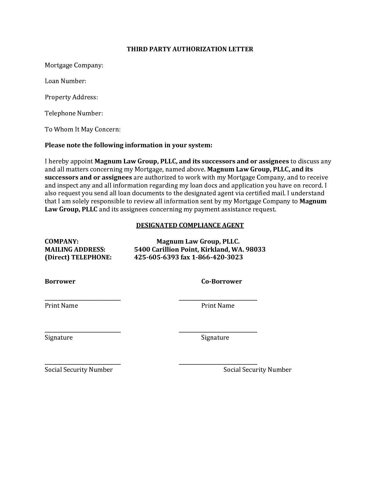 Third Party Authorization Letter Format Best Template Collection