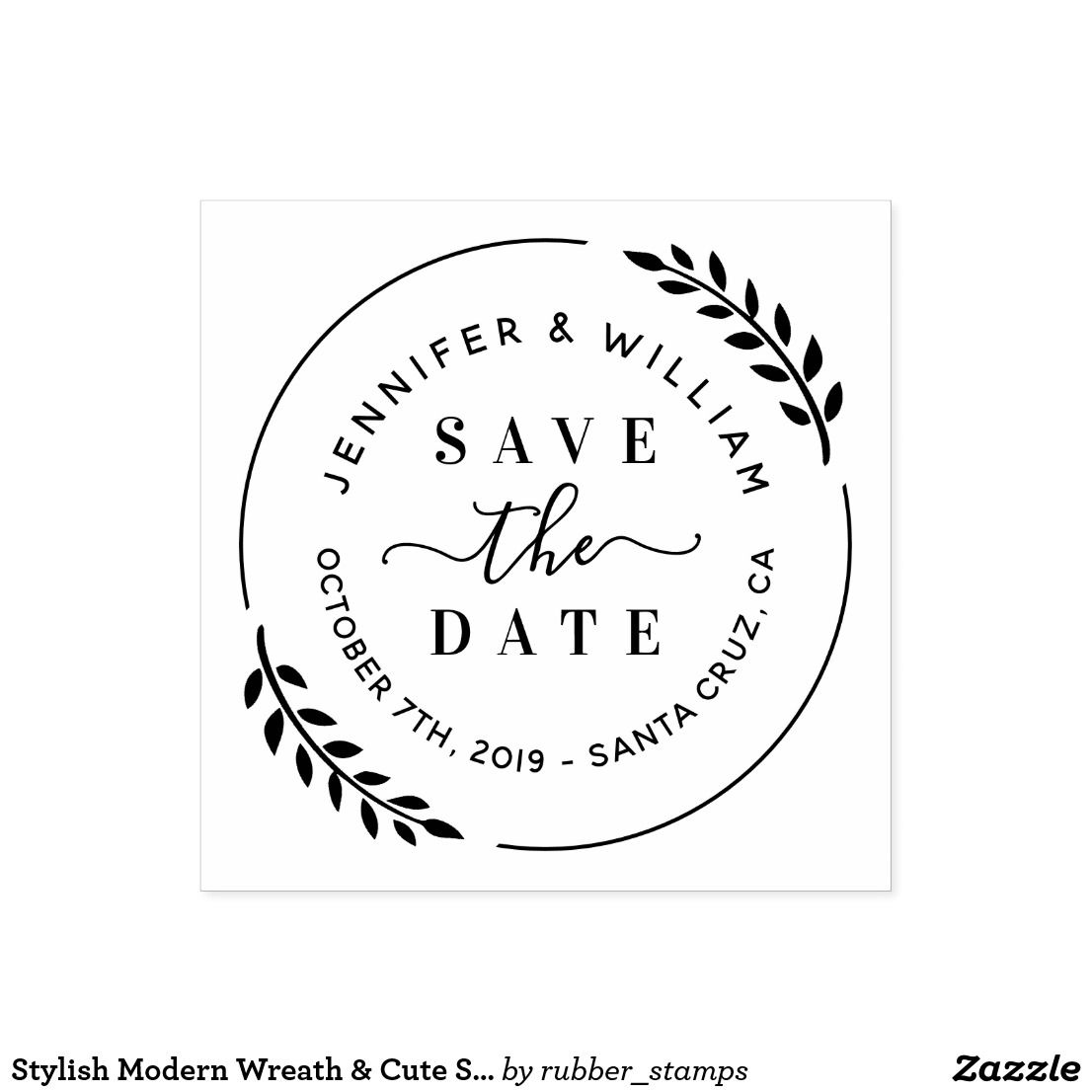 Photo of Stylish Modern Wreath & Cute Script Save The Date Rubber Stamp   Zazzle.co.uk