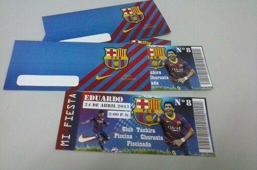 Tarjeta De Invitación Para Cumpleaños Tipo Entrada De Futbol