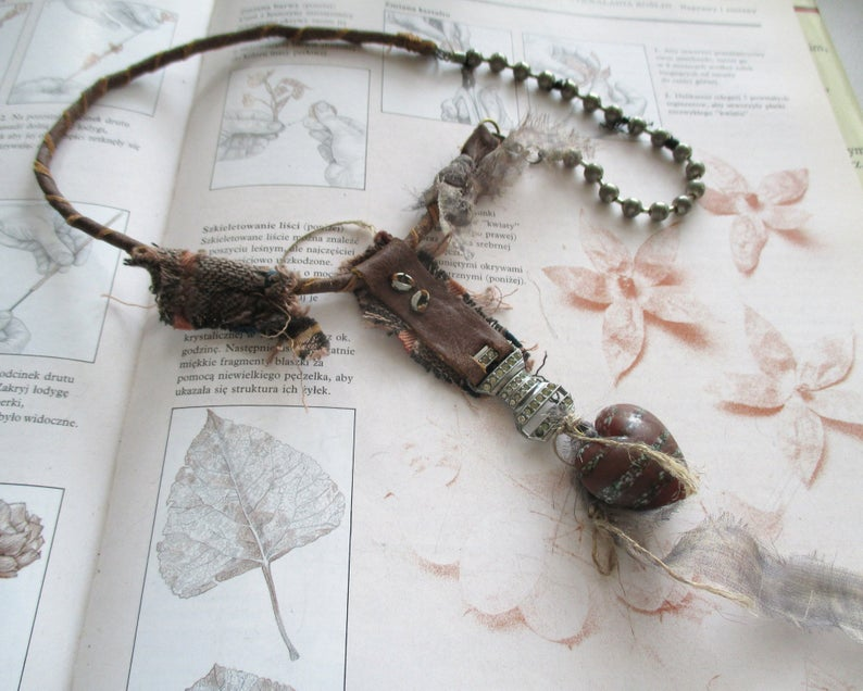 statement necklace leather necklace found object assemblage necklace necklace with  glass box and vintage bulb mixed media necklace