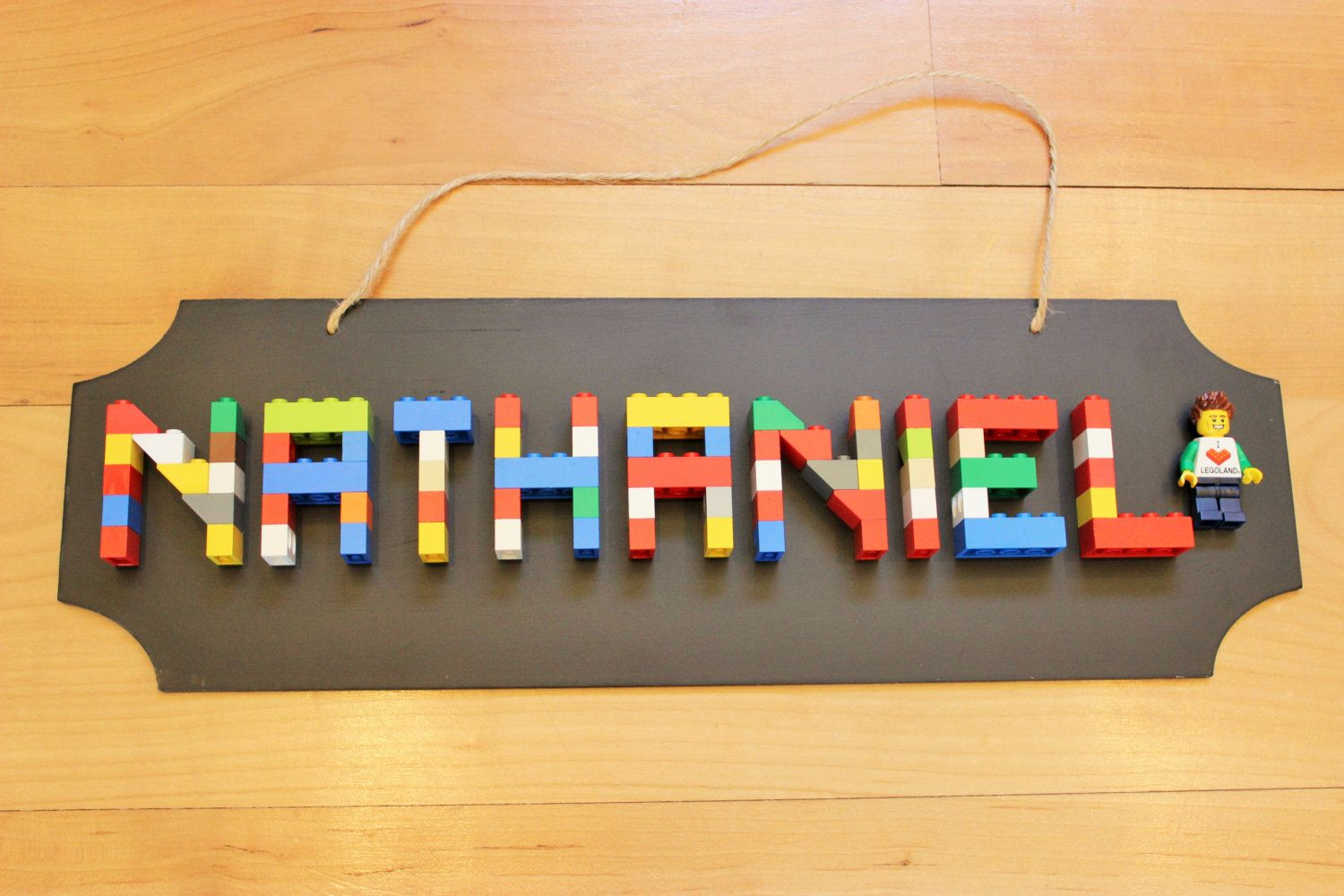 Boys LEGO Name Sign 6 9 Letters   LEGO PARTY   Pinterest   Lego     LEGO Name Sign 7 9 Letters with Minifigure by SignsSignsOneOfAKind on Etsy