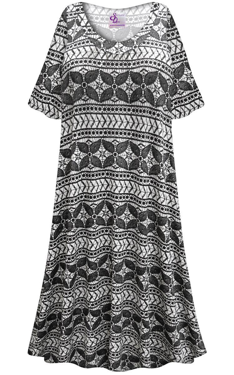 Customizable Plus Size Black & White Abstract Print Sleep Gown ...