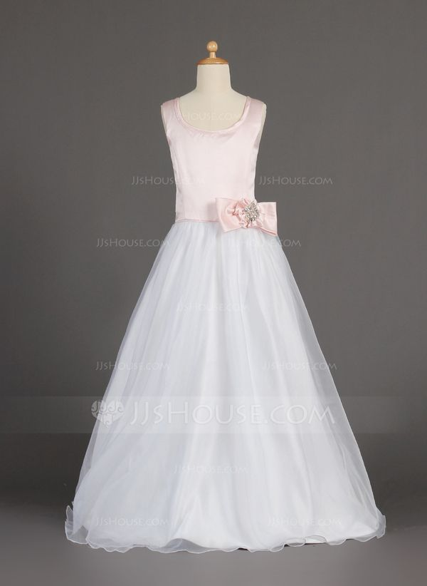 ca52dc658c5 A-Line Princess Scoop Neck Floor-Length Organza Satin Flower Girl Dress  With Beading Flower(s) Bow(s) (010002160)