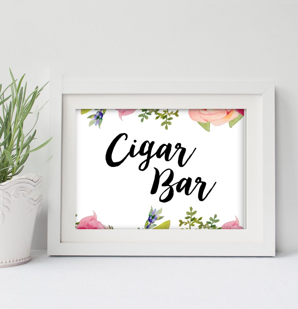 Wedding Sign 5x7 Printable - Cigar Bar - Pretty Watercolor Flowers - Instant Download