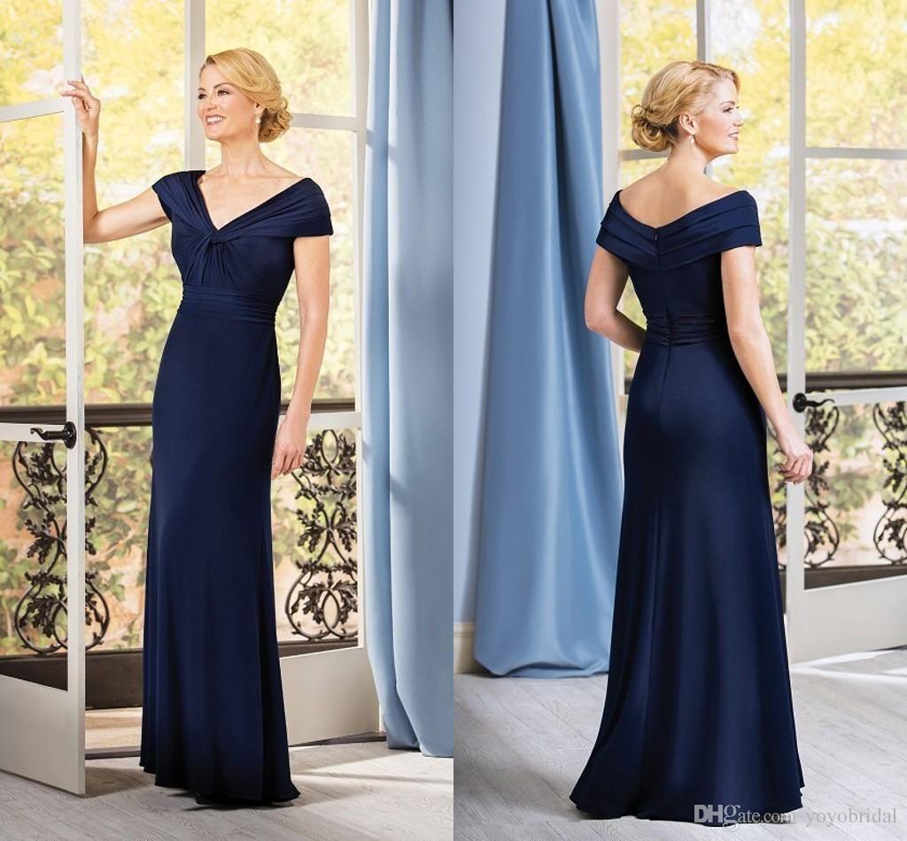 Fashion Navy Blue Mother Of The Bride Groom Dresses Portrait Short ...