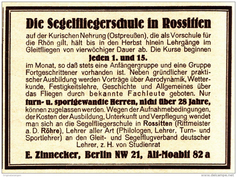 Original-Werbung/ Anzeige 1926 - SEGELFLIEGERSCHULE IN ROSSITTEN / ZINNECKER - BERLIN / ALT-MOABIT - ca. 100 x 65 mm