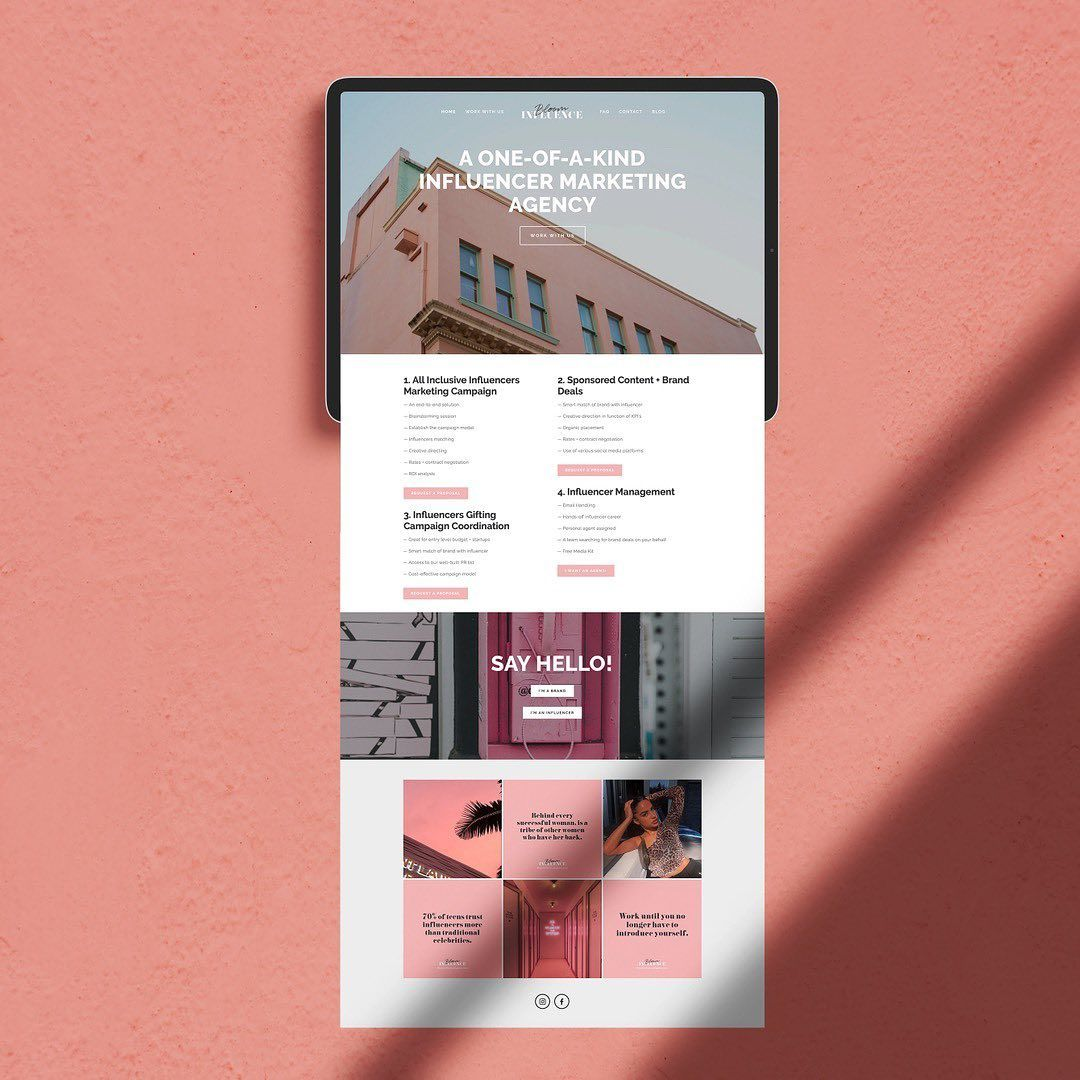 Homepage Design For Bloom Influence An Agency That Specializes In Influencer Marketing Are You In Need Small Business Web Design Homepage Design Web Design