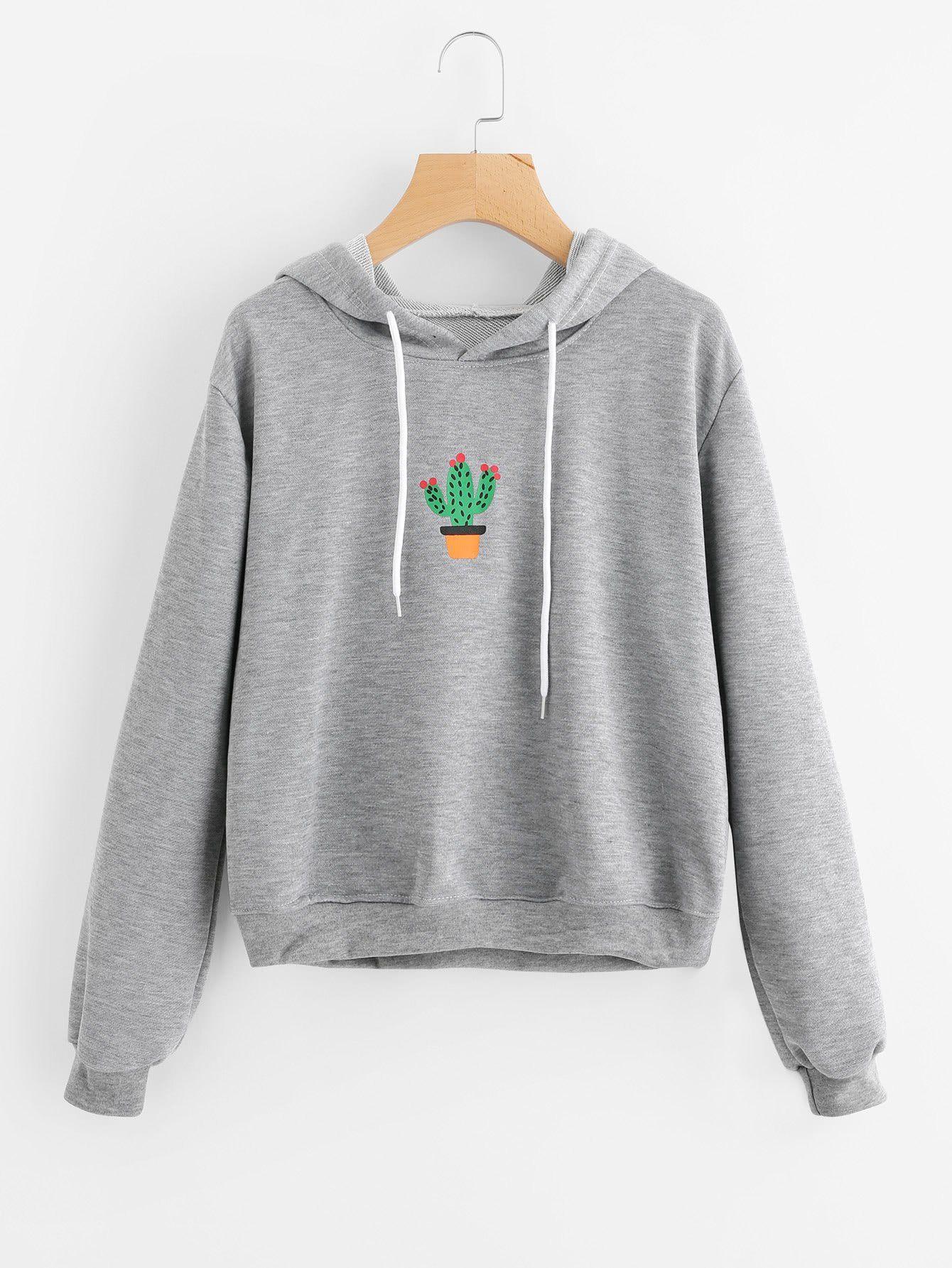 Grey Marled Printed Potted Cactus Hoodie Sweatshirts Hoodie Sweatshirts Women Sweatshirts [ 1785 x 1340 Pixel ]