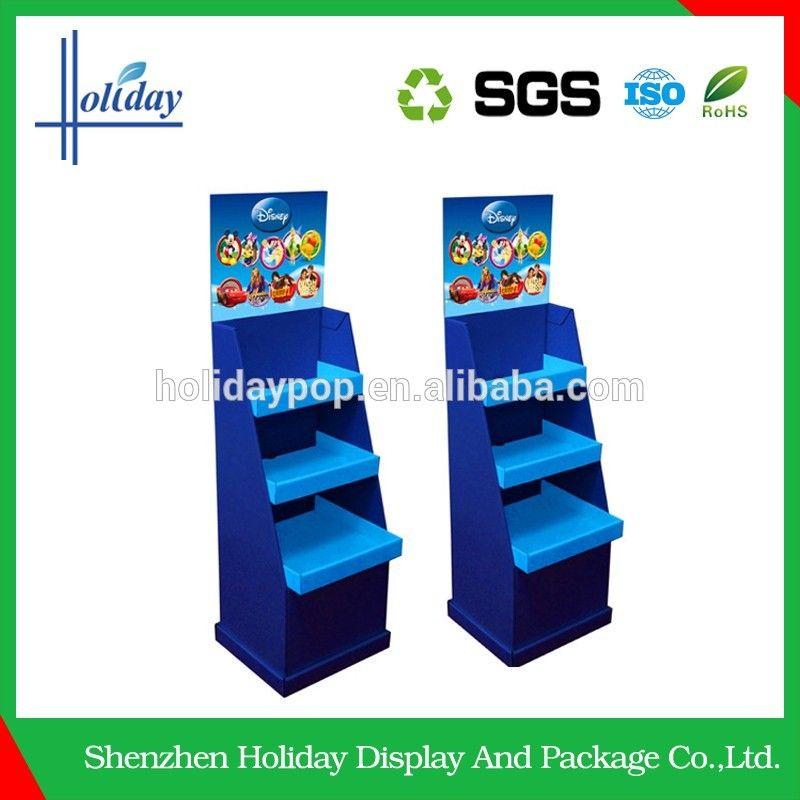 paper material corrugated fsdu cardboard floor display stand for