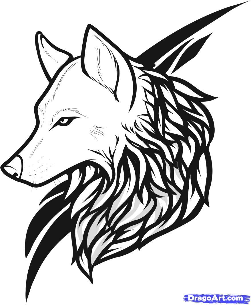 Wolf Line Drawing Tattoo : Wolf line art tattoo drawing and coloring for kids