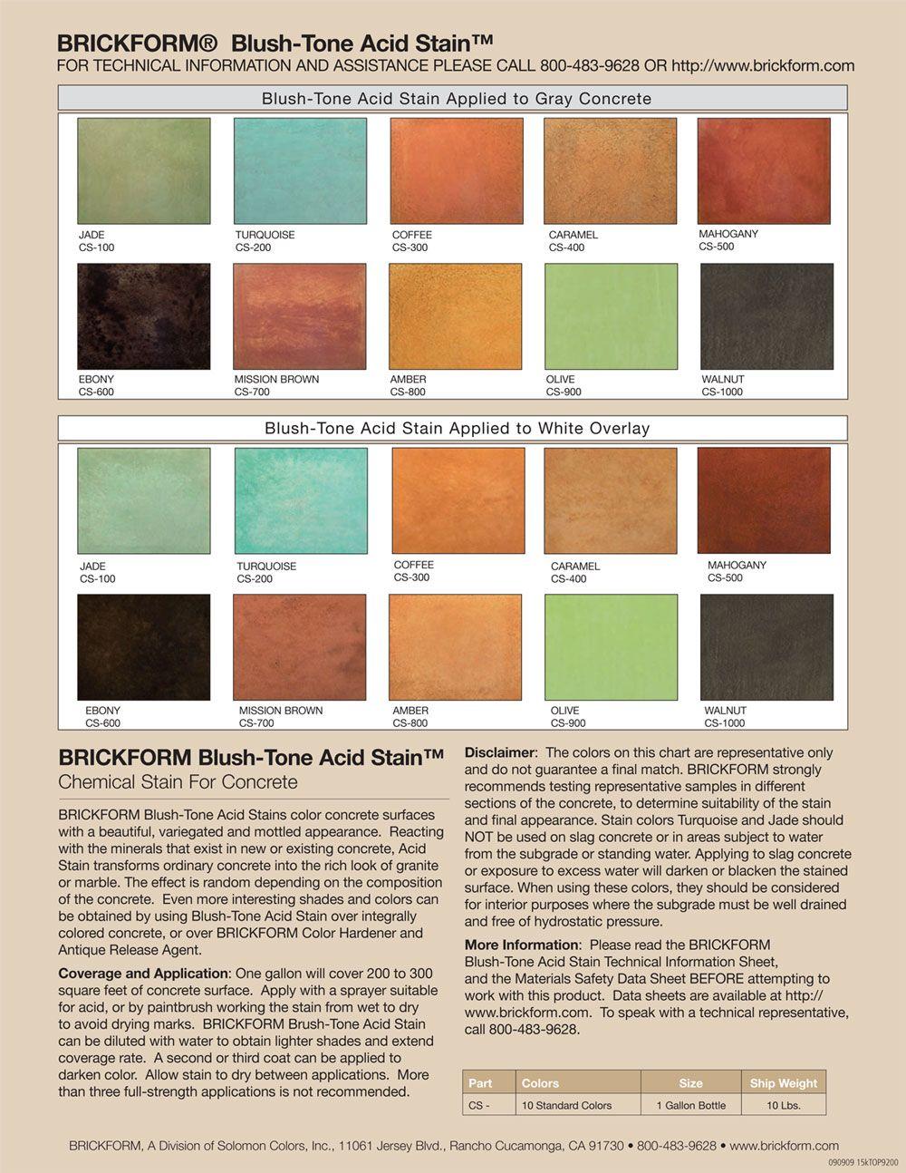 Brickform Concrete Stain Color Chart Vivostar