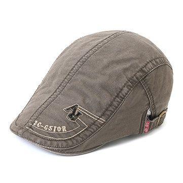 6ddf274aa212a Mens Cotton Embroidery Letter Rivet Berets Caps Casual Sport Visor Golf Hat