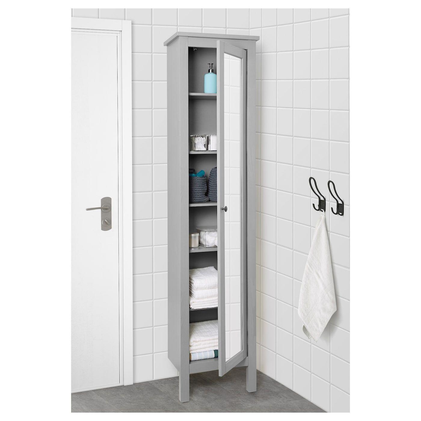 Hemnes Hochschrank Mit Spiegeltur Grau Ikea Deutschland Bathroom Decor Mirror Door Simple Bathroom Decor