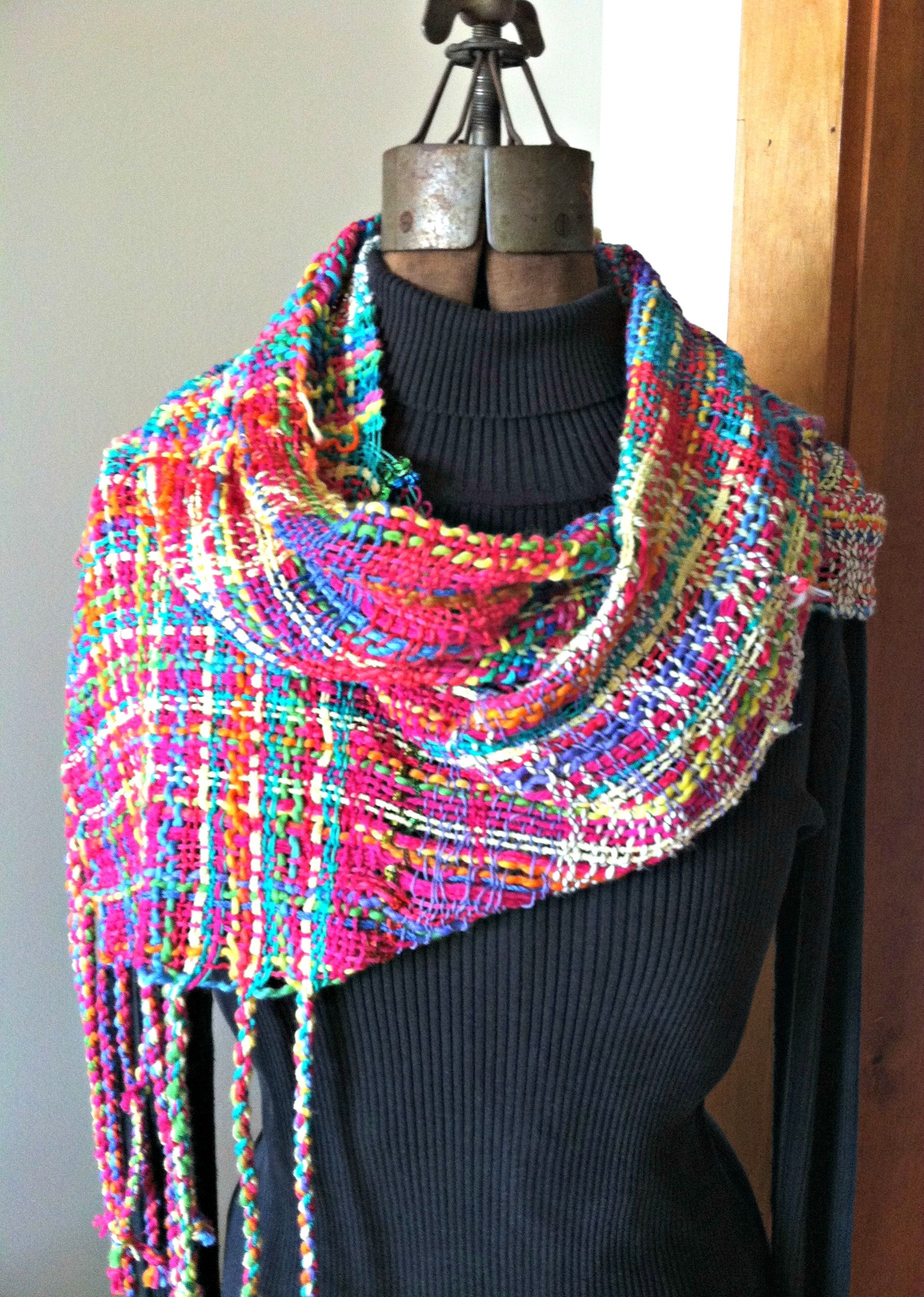 """Having a Party,"" Saori infinity scarf woven Karen Pardee / Serendipity SAORI Studio"