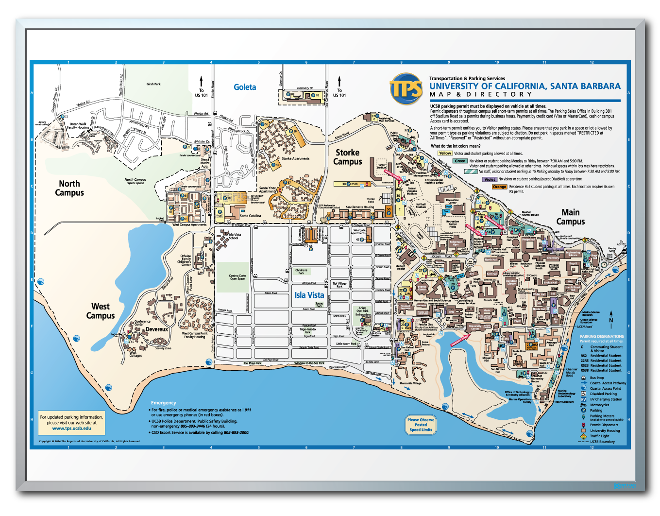 Uc Santa Barbara Campus Map Dry Erase Board Campus Map Uc Santa Barbara University Of California
