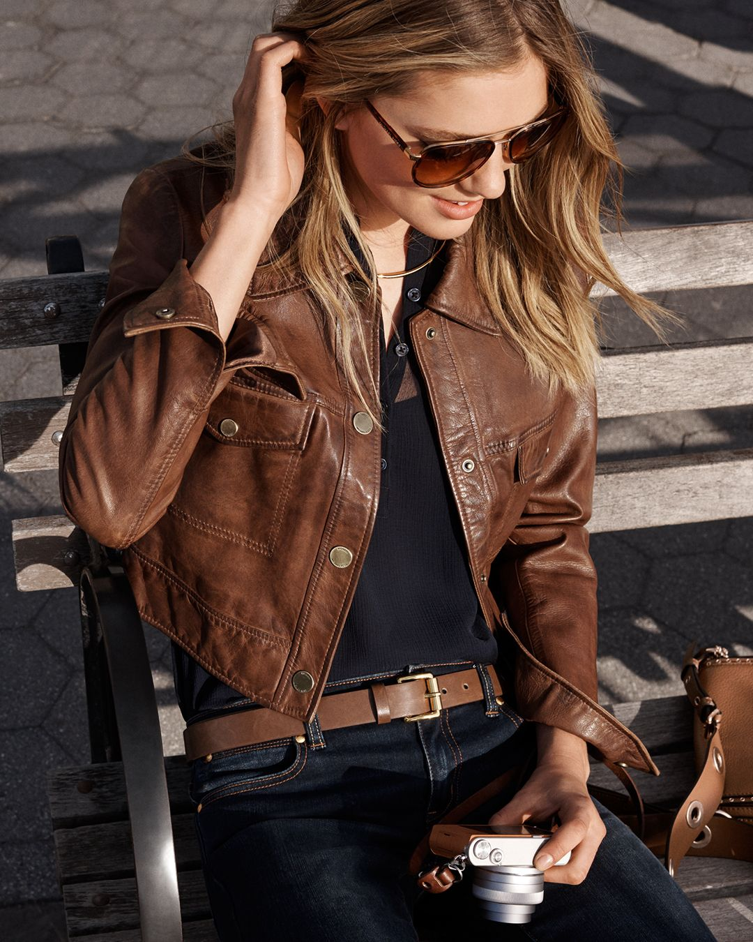 A cropped cut and cognac color makes this leather jacket
