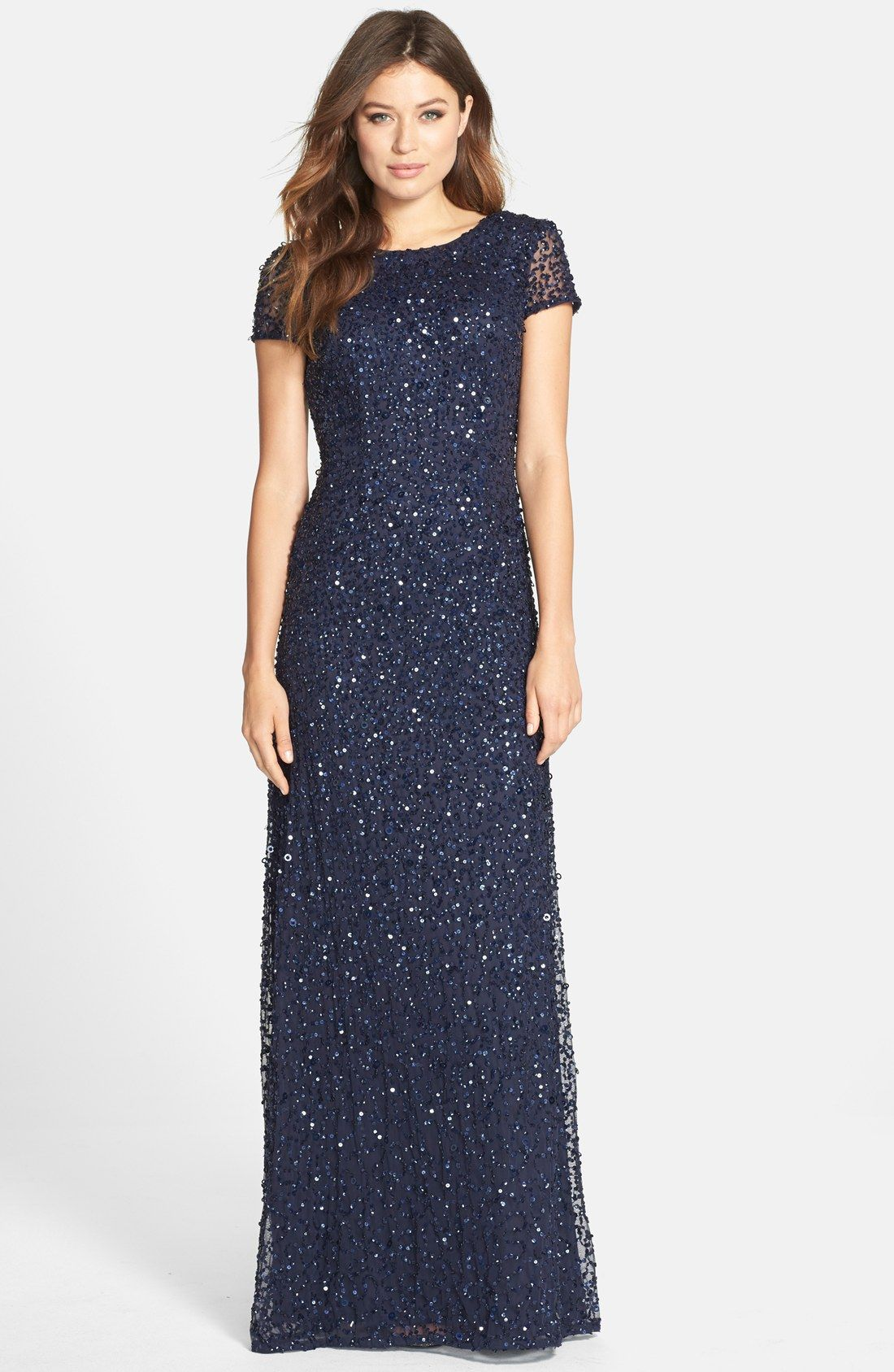 868ecd94 Adrianna Papell Short Sleeve Sequin Mesh Gown (Regular & Petite) | Nordstrom