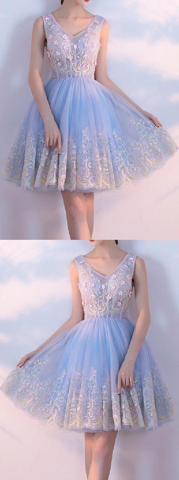 Customized short prom homecoming dress luscious light blue