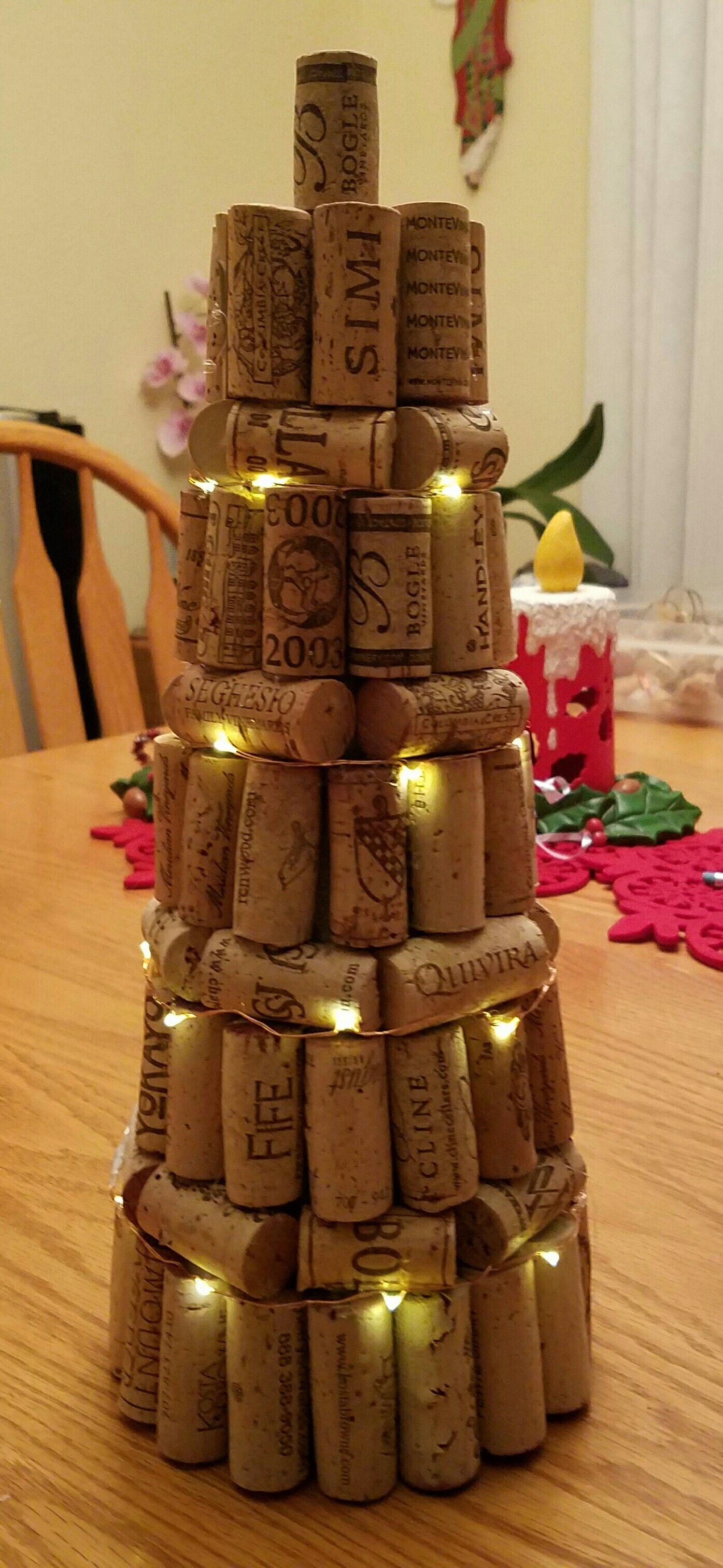 wine cork tree with battery LED lights. Cork tree, Cork