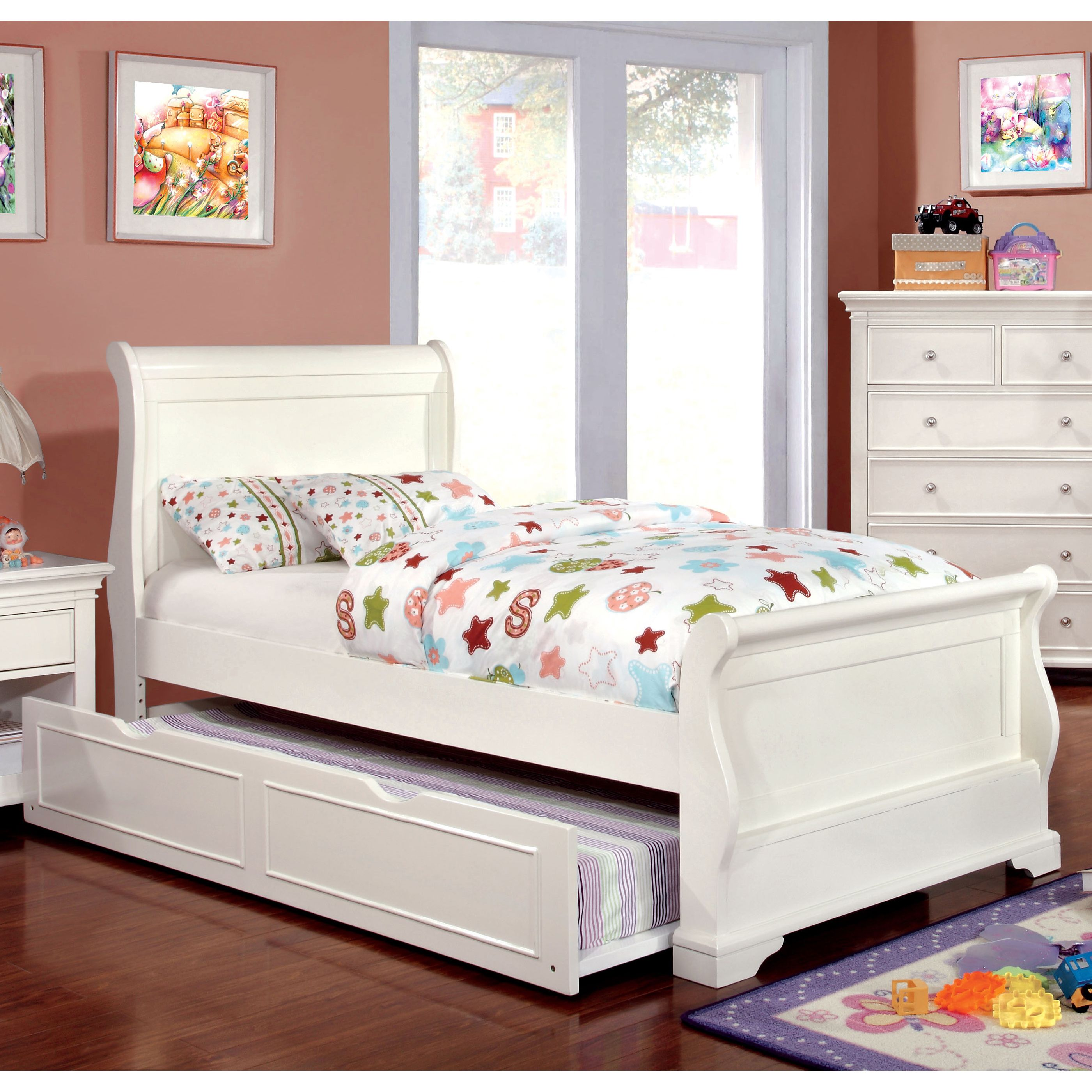 Furniture of America Vetz Transitional White Solid Wood
