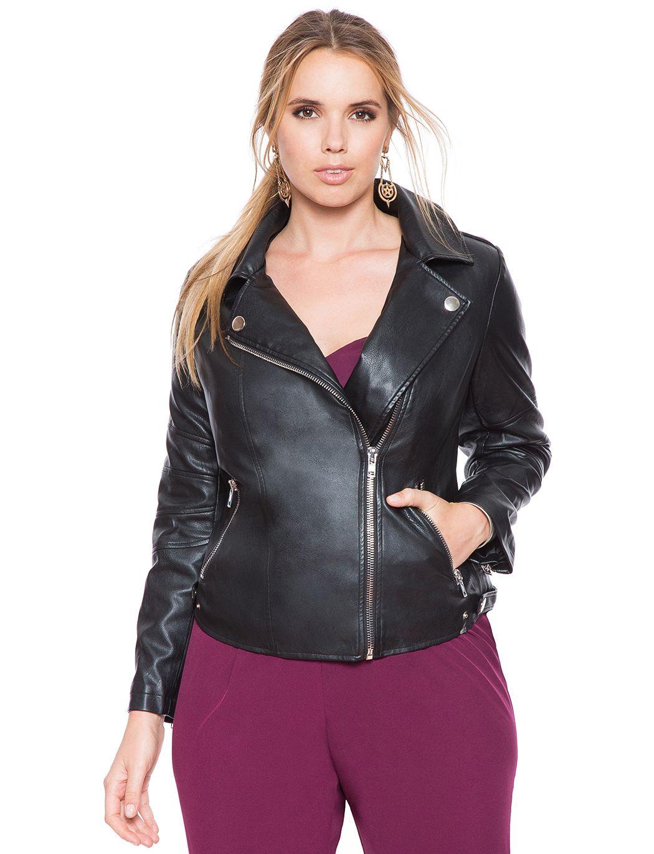 Classic Faux Leather Moto Jacket Women's Plus Size