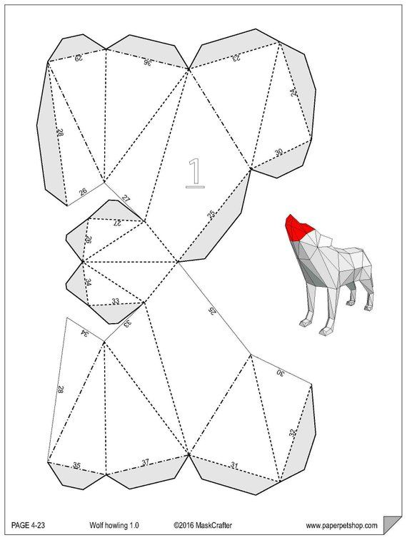 Howling Wolf, Papercraft Template, Instant download